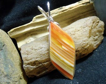 Large Orange Banded Lake Superior Agate Wire Wrapped Stone Silver Pendant