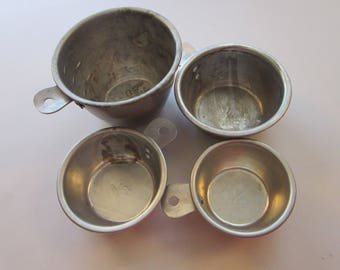 vintage measuring cups - aluminum 1/4 cup, 1/3 cup, 1/2 cup, 1 cup