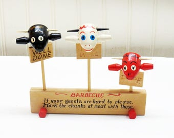 Vintage MCM Japan BBQ Meat Markers - Wood Bulls - Well Done - Med Well - Rare