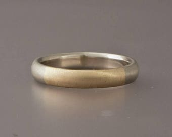 Custom Two Tone Gold Mens Wedding Band  - Married Metals 14k Yellow and White Gold 4mm Wide High Dome Ring