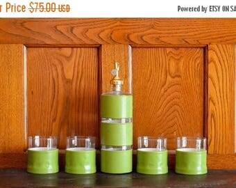 SALE 25% OFF vintage mid-century modern green cocktail set