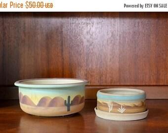 CIJ SALE 25% OFF vintage southwestern pottery planters / pottery vases / cactus / midwest home decor