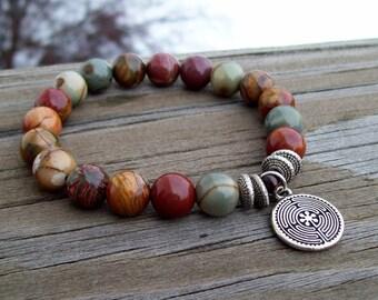 Red Creek Jasper - Meditation Bracelet with Labyrinth charm, Hippie Unisex jewelry, enjoy your journey