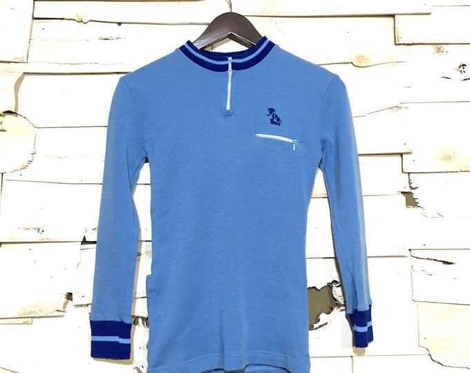 Vintage 1960's European Cycling Jersey Long Sleeve Shirt - XS