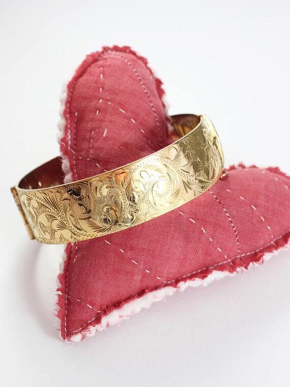 Vintage 9ct Gold Bangle, Swirling Vine Engraved Cuff Bracelet - Enchanting Swirls