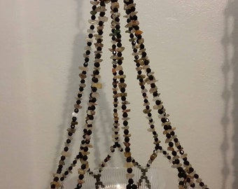 Black Bead with  Gem Stones  Plant Hanger