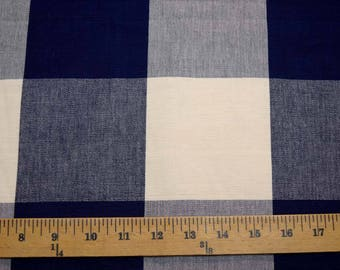 3170 Four Inch Check Navy Laura Kiran Fabric