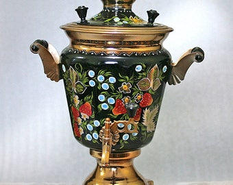 Soviet Russian Samovar Hand Painted Electric Samovar Metal Tea Pot Working Metal 1991 from Ukraine