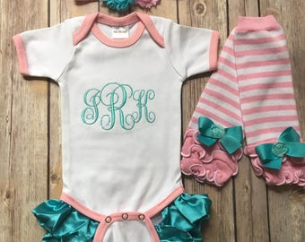 Personalized Baby Girl Homecoming Outfit Monogrammed Romper Ruffled Legs Bodysuit or Bubble Romper, Headband, Leg warmers, Ruffle Leggings.