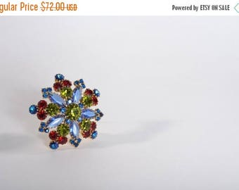 HALF PRICE SALE Vintage 1960s Blue Rhinestone Brooch - Snowflake Red Green Pin - Holiday Fashions