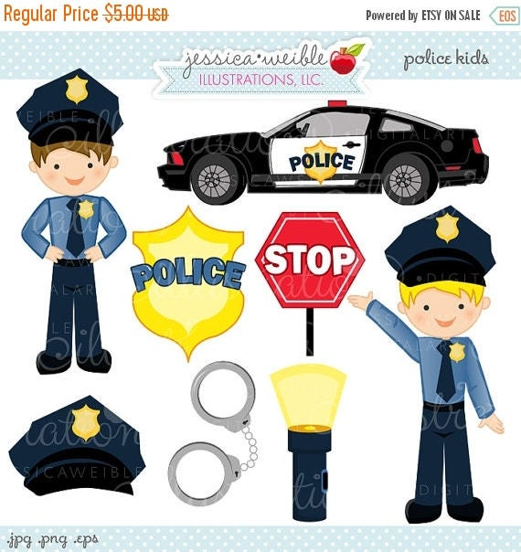 Sale Police Kids Cute Digital Clipart Commercial Use Ok