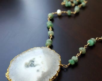 Raw Emeralds / Freshwater Pearls / Gold-filled Necklace / fertility / good fortune / wisdom / love