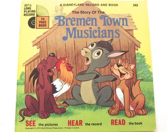 Bremen Town Musicians Disneyland Record and Book, Vintage 1970 Read and Listen Set (A4)