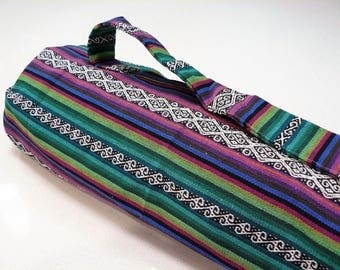 NEW XL Yoga Bag - Exercise mat bag - purple, green with black and white striped with Large velcro pocket
