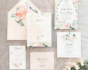 Watercolor wedding invitation etsy kalyse floral watercolor wedding invitation suite w lace band pinks eucalyptus junglespirit Choice Image