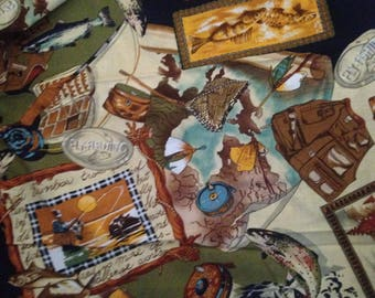Fly Fishing Cotton Quilting Fabric