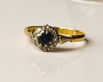 Sapphire and Diamond Ring, Antique Gold Sapphire Ring, September Birthstone, Size 8