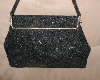 Vintage 1940's  Black Beaded Evening Bag Purse