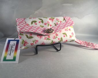 Mini Pink Floral Clutch Wallet With Wrist Strap