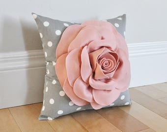 Blush pink pillow cover. Rose Gold Flower Pillow cover. Throw pillow cover. Sham Pillow case. Select your Color. Blush Bedroom Decor Nursery