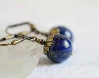 Sapphire Lapis Earrings Bohemian Lapis Lazuli Earrings Dark Blue Earrings Natural Stone Lapis Jewelry Vintage Style Antique Brass Birthstone