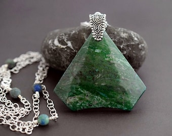 Dark Green Tree Agate Necklace Azurite Agate Pendant Moss Stone Forest Green Necklace Long Gemstone Necklace Silver Beaded Chain Necklace