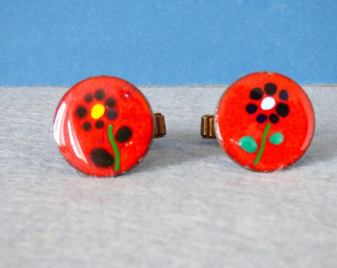 Cufflinks Enamel Flower Power West Germany 1970s