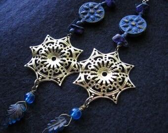 Long dangle earrings | blue and gold | compass rose | sun | boho chic