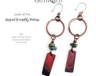 Pools of Fire copper and turquoise statement earrings