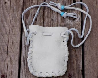 Off white leather drawstring pouch , Off white leather medicine bag , Soft leather crystal bag , Leather coin pouch