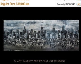 "17% OFF /ONE WEEK Only/ Enormous Chicago City Scape Skyline Knife Abstract by Paul Juszkiewicz 60""x24"" black & white - Ready To Ship"