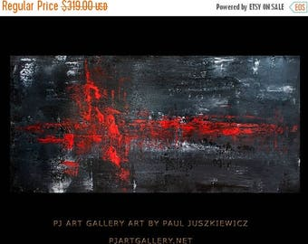 "17% OFF /ONE WEEK Only/ Modern Contemporary Abstract ""The Hart Beat Ii"" 48""x24"" by Paul Juszkiewicz"