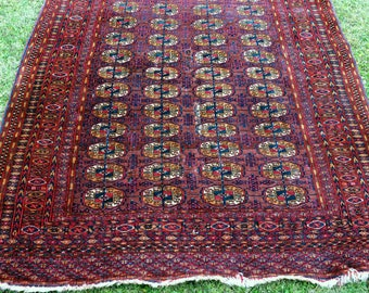 Old Antique Tekke Turkmen rug - wool Turkomen carpet - vintage Oriental carpet - area rug