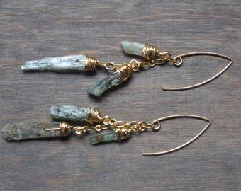 Green Kyanite Dangle Earrings -