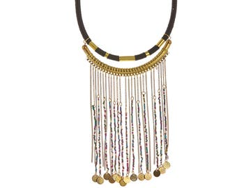 Tribal fringe Necklace,Black Gold Tassel Necklace,Bohemian Black Bib Necklace,Fringe Necklace,CHOKER,Black&Gold Jewelry by Taneesi