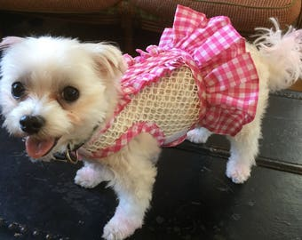 Breathable mesh ruffle gingham small dog harness, Made in USA, dog harnesses, pet clothing