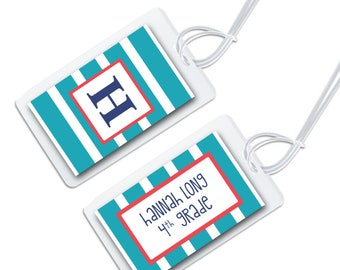 personalized bag tag for luggage, backpacks, lunch boxes and more,rugby stripe for back to school