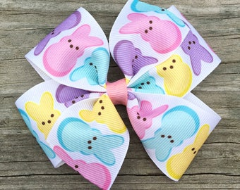 Peep Hair Bow, Marshmallow Bunny Bow, Easter Hair Bow, Marshmallow Peep Bow, Peep Hair Clip, Easter Hair Bows, Easter Hair Clip, Toddler Bow