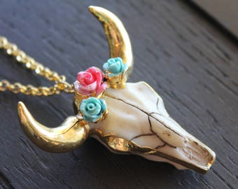 Cattle Necklace Longhorn Necklace Boho Necklace Boho Jewelry Bohemian Necklace Bohemian Jewelry Electroformed Necklace Flower Cow Skull