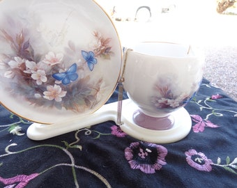 Teacup Set   Vintage Signed Lena Liu Cup and Plate set of Blossoms and Butterflies with stand.