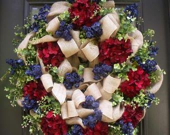 Americana Wreath, 4th of July Wreaths, Summer Wreath, Patriotic Wreaths, Burlap Wreath, July 4th Wreath