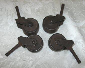 4 Antique Matching Metal Casters Wheels Rollers Furniture Dresser  Industrial Hardware Salvage Furniture Rollers