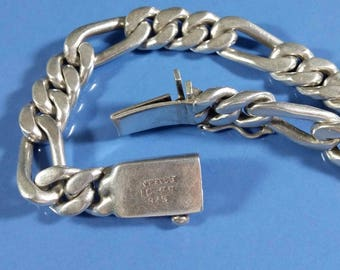 Heavy Men's Sterling Silver Chain Bracelet Figaro Chain 9 Inch Chain 925 Mexico IC-29 Fits up to 9 Inch Wrist 58.50 gr. Solid Well Made