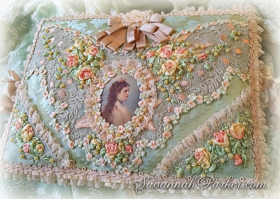 Spectacular Silk + Lace Victorian Rococo Ribbon Roses Sewing Basket - Jewelry Box - Boudoir Box - Silk Ribbonwork Embroidery - Antique Laces