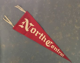 Vintage Felt  Pennant North Central College, Red white, 1950s, Naperville, tenant