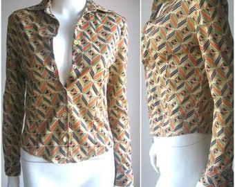 70s 80s vtg graphic blouse