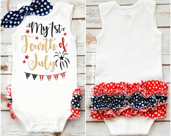 SALE! My First Fourth of July; July 4th Babygirl Outfit; Baby girl 1st Fourth Bodysuit with Ruffle; Gerber ® Onesies ® brand