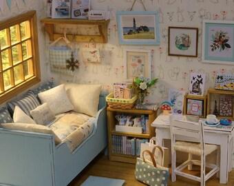 Blue Zakka bedroom - 1/10 miniature dollhouse diorama (handmade)