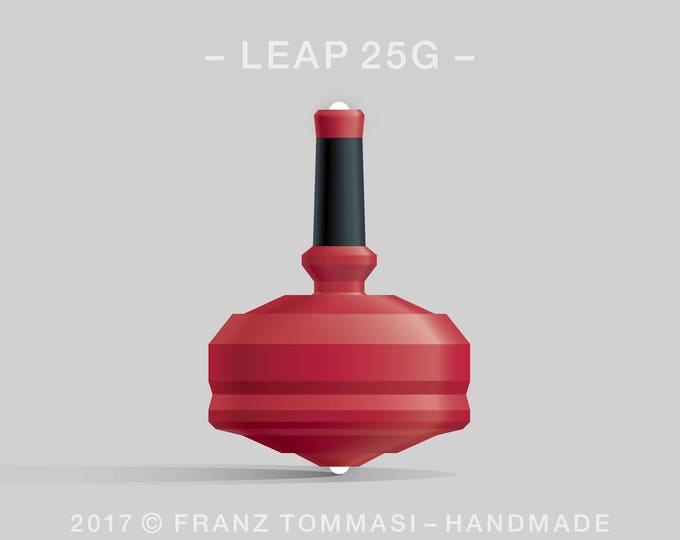 LEAP 25GRed Spin Top with red polymer body, ergonomic stem with rubber grip, and dual ceramic tip