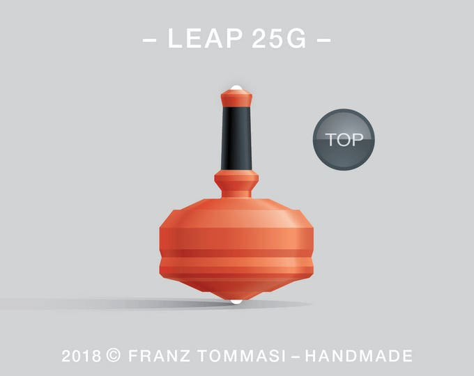 LEAP 25G Orange – Precision handmade spin top with dual ceramic tip and integrated rubber grip